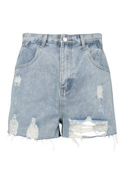 Mid blue Paperbag Distressed Mom Short