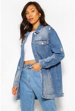 Mid blue blue Distressed Longline Denim Jacket