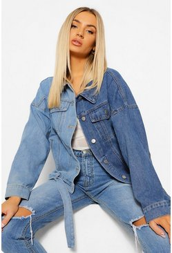 Light blue blue Denim Colour Block Shoulder Denim Jacket