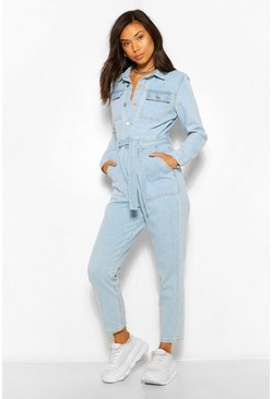 Light blue blue Denim Pocket Belted Roll Hem Boilersuit