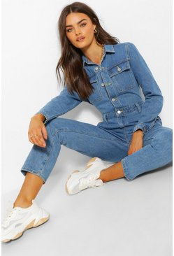 Blue Mid Wash Denim Jumpsuit