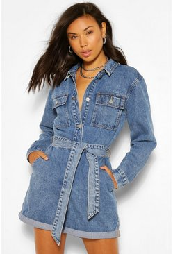 Blue Denim Pocket Belted Playsuit