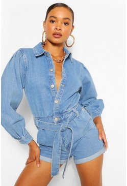 Mid blue blue Denim Volume Sleeve Playsuit