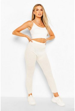 Ivory white Rib Knit Leggings