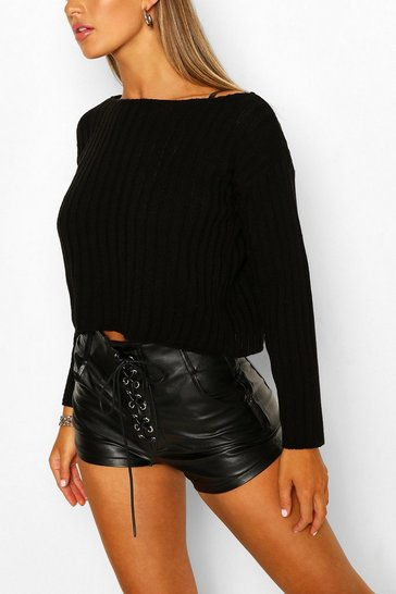 Black Rib Knit Off The Shoulder Jumper