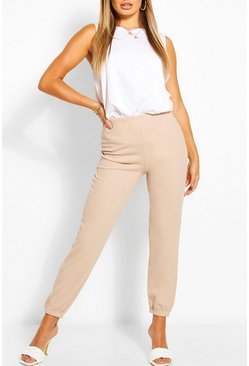 Stone beige Tailored Crepe Jogger