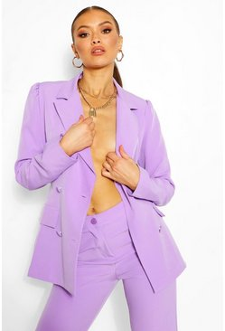 Lilac Tailored Double Breasted Self Belt Blazer