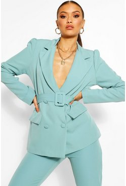 Tailored Double Breasted Self Belt Blazer, Turquoise