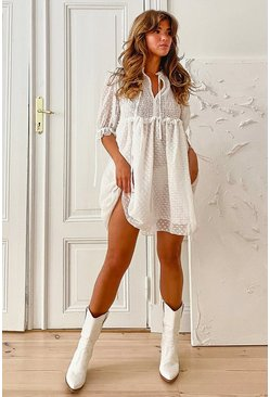White Dobby Shirred Smock Dress