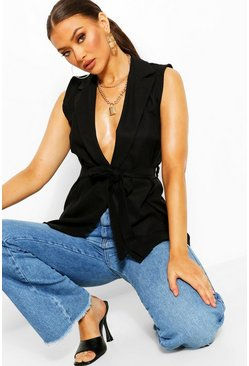 Black Linen Look Sleeveless Belted Duster