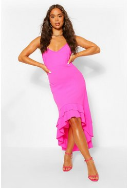 Hot pink pink Strappy Ruffle Dip Hem Maxi Dress