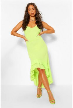 Lime green Strappy Ruffle Dip Hem Maxi Dress