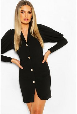 Puff Sleeve Double Breasted Blazer Dress, Black noir