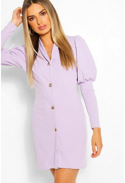 Lilac purple Puff Sleeve Double Breasted Blazer Dress