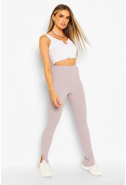 Grey Ribbed Split Hem Legging