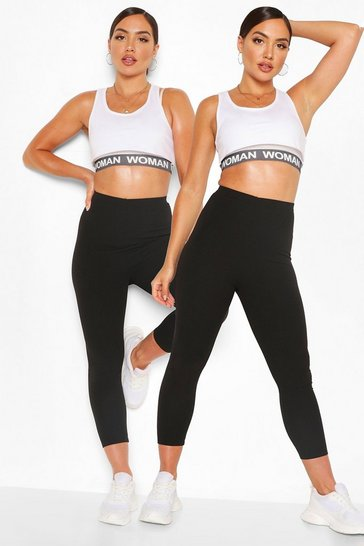 2 Pack Black Sculpt High Waist Cropped Legging