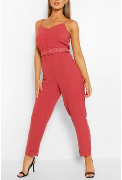Dusty rose pink Cami Strap Belted Turn Up Hem Jumpsuit
