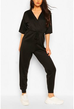 Black Wrap Over Short Sleeve Loopback Sweat Jumpsuit