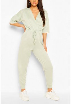 Sage Wrap Over Short Sleeve Loopback Sweat Jumpsuit