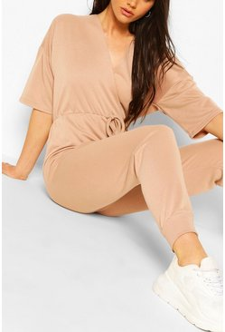 Wrap Over Short Sleeve Loopback Sweat Jumpsuit, Stone beige