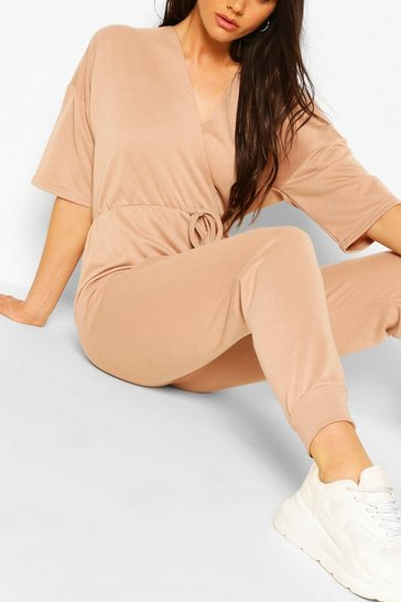 Stone beige Wrap Over Short Sleeve Loopback Sweat Jumpsuit