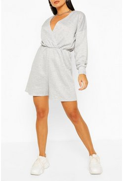 Grey marl Wrap Front Long Sleeve Loopback Sweat Playsuit