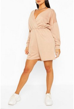 Stone beige Wrap Front Long Sleeve Loopback Sweat Playsuit