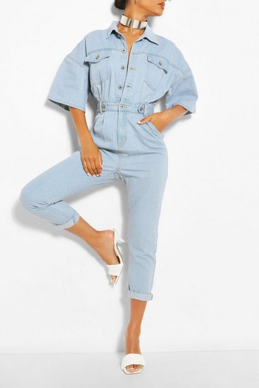 Light blue Waist Detail Denim Jumpsuit