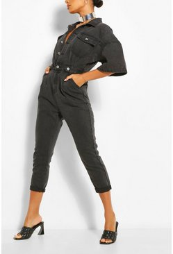 Washed black Waist Detail Denim Jumpsuit