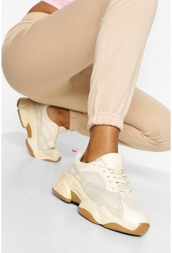 Stone beige Contrast Piping Chunky Trainers