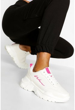 Pink Woman Script Chunky Trainers