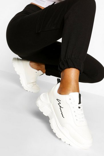 White Woman Script Chunky Trainers