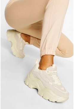 Stone beige Chunky sneakers med platåsula