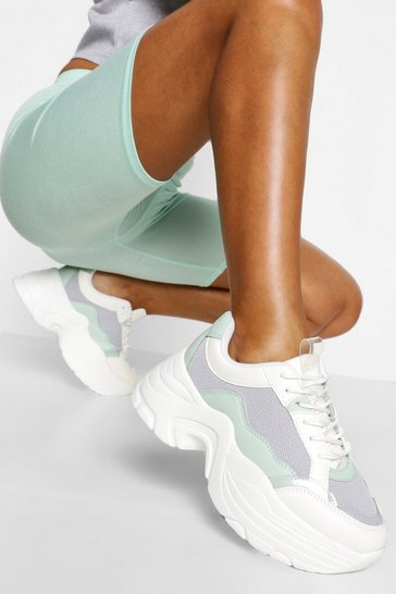 Sage green Multi Panel Chunky Platform Trainers
