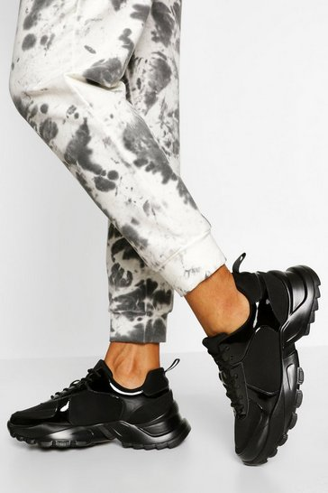 Black Contrast Panel Chunky Trainers