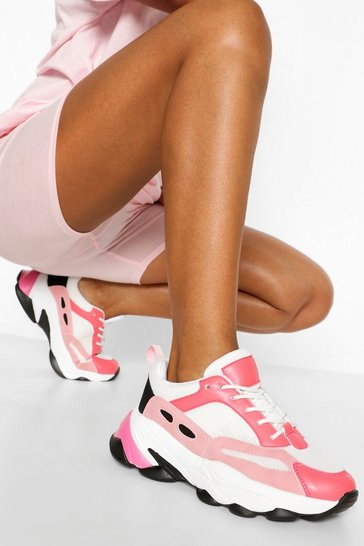 Pink Super Chunky Multi Panel Trainers