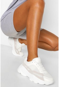 White Super Chunky Multi Panel Trainers