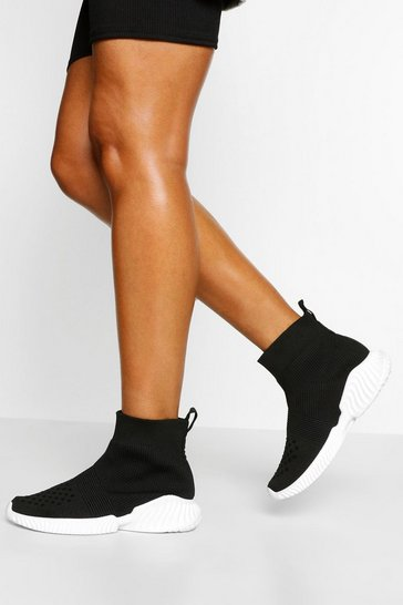 Black Chunky Sole Knitted Sock Trainers