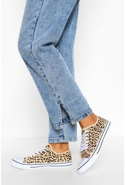 Leopard Lace Up Canvas Flat Trainers