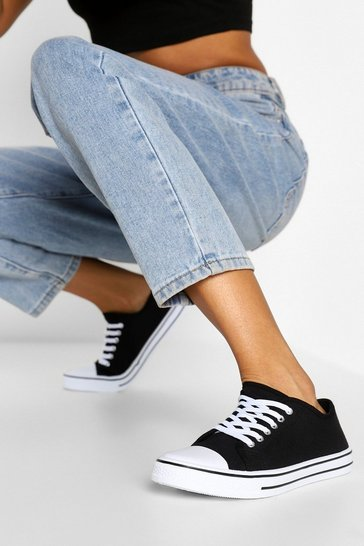 Black Lace Up Canvas Flat Trainers