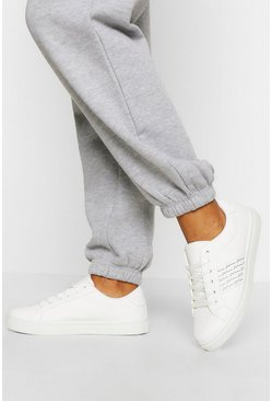 White Woman Side Stripe Basic Flat Trainers