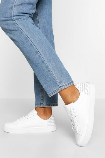 White Woman Script Basic Flat Trainers