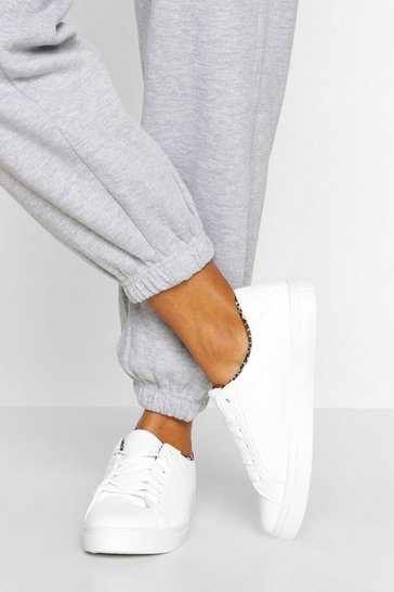 White Leopard Insock Basic Trainers