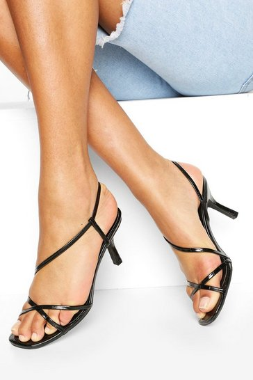 Pink Strappy Low Heel Sandals