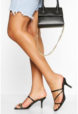 Black Strappy Low Heel Mules