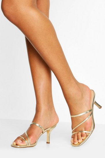Gold metallic Strappy Low Heel Mules