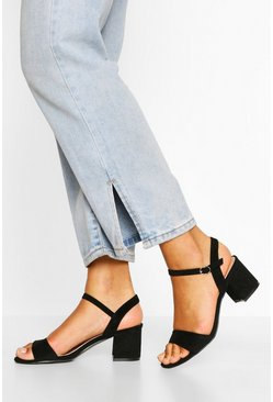 Black 2 Part Low Block Heels