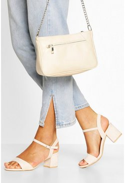 Nude 2 Part Low Block Heels
