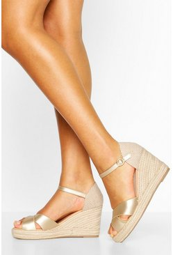 Champagne Cross Front Espadrille Wedges
