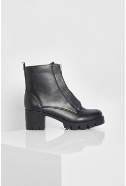 Black Wide Fit Zip Front Chunky Chelsea Boot